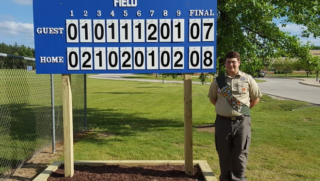 Matthew Fried of Hartland's Boy Scout Troop 224 recently completed his Eagle Scout service project by building a baseball scoreboard at Lake Country School. The board will be used by Lake Country School students as well as the Lake Country Youth Baseball and Softball (LCYBS) recreational league. Besides the players, the scoreboard will also keep audience members apprised of the score. Fried attended Lake Country School and played on LCYBS teams. He will be a sophomore at Arrowhead High School in the fall.