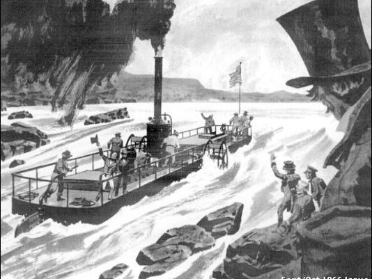 """Illustration of Iron Steamboat Codorus tackling Nanticoke Falls (From the Article """"America's first iron ship,"""" by Alexander C. Brown, in Steelways issue of Sept./Oct., 1966; page 24.)"""