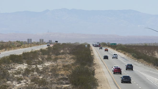 Traffic resumes both Eastbound and Westbound on I-10 near Blythe, CA on July 24, 2015.