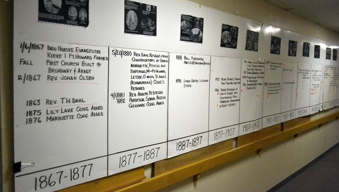 A timeline that chronicles the 150-year history of Trinity Lutheran Church in downtown Green Bay stretches across a hallway wall.