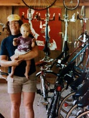 Chris Kegel with his son Noel in the early 1980s at the original Wheel and Sprocket store in Hales Corners.