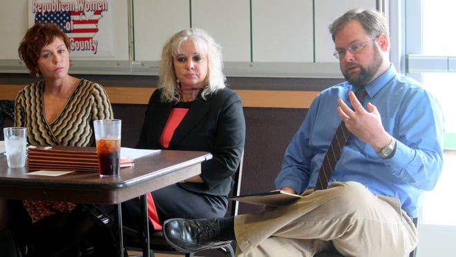12th Judicial District Judge Angie Schneider, 12th Judicial Court Executive Officer Katina Watson and Otero County Magistrate Judge James Scott Newton discuss issues at their current facilities at the Republican Women of Otero County monthly meeting Wednesday morning.