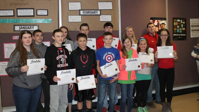 February students of the month from Groton High School with their certificates