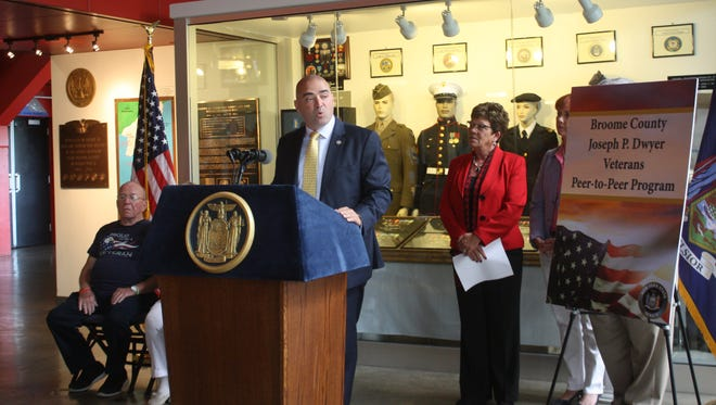 State Sen. Fred Akshar and Broome County Executive Debbie Preston announce Wednesday a peer-to-peer program for veterans.