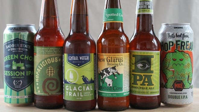 Wisconsin breweries taking extra steps to brew green beer (as in environmentally friendly green) include (from left) Badger State Brewing, Ale Asylum, Central Waters Brewing, New Glarus Brewing, Lakefront Brewery and Milwaukee Brewing.