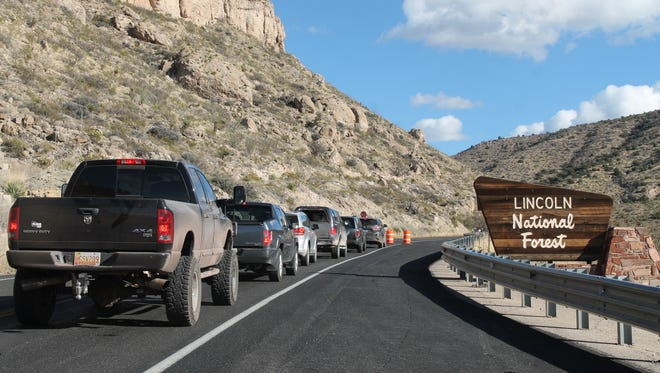 In this January 2017 file photo, drivers wait for the pilot vehicle to lead them through the one-lane construction area on Wednesday afternoon. The Lincoln National Forest recently issued a temporary  closure in areas of the forest to protect the New Mexico meadow jumping mouse until Nov. 15.