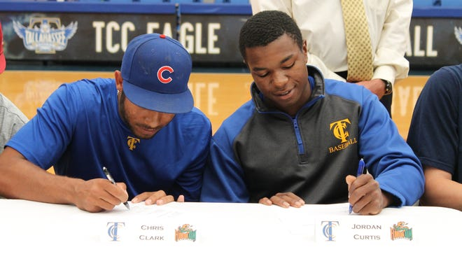TCC sophomores Jordan Curtis (right) and Chris Clark sign National Letters of Intent to play for Florida A&M.