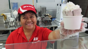 Lee C. Yang, owner of AM Ice Cream, 1232 Milwaukee Ave. in South Milwaukee, makes some Oreo rolled ice cream which is made to order in less than five minutes. Other popular flavors are fudge mint and Fruity Pebbles.
