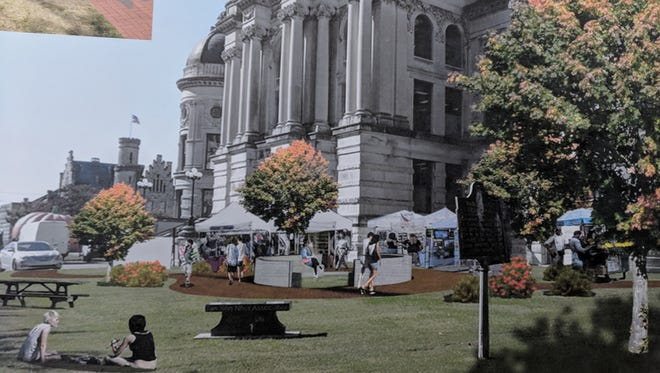 Artistic renderings of what the Old Vanderburgh County Courthouse could like later this year after the historic building's exterior is renovated.
