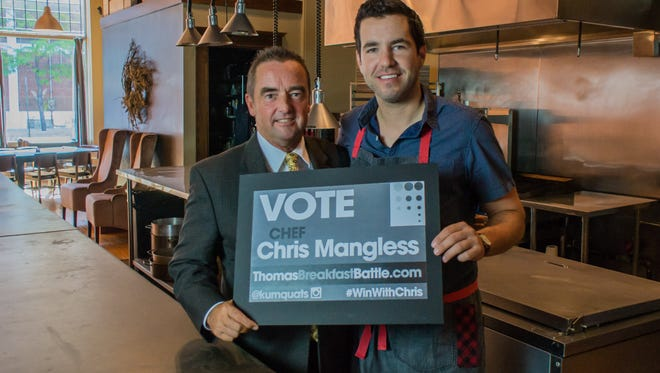 Green Bay mayor Jim Schmitt is lending his support to Three Three Five owner/chef Chris Mangless who is one of 135 chefs competing in a national recipe competition.