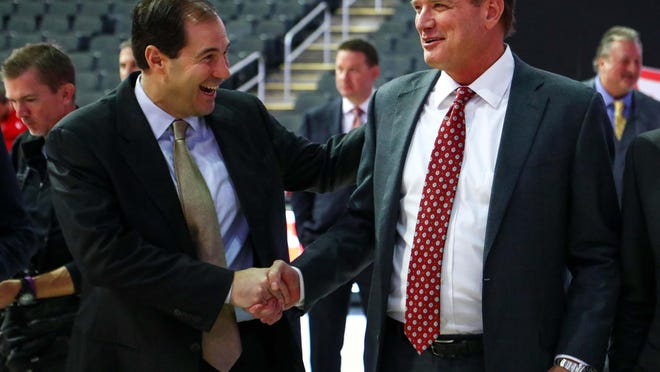 Scott Drew, left, and the Baylor men's basketball team is atop the Big 12 preseason poll released Thursday, while Bill Self, right, and Kansas finished second in the poll.