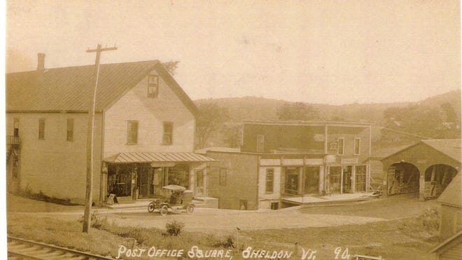 Post Office Square in Sheldon on the banks for Black Creek abutting the two-lane covered bridge built in 1837.