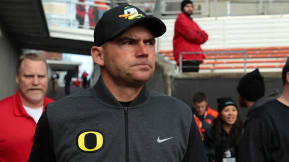 Nov 26, 2016; Corvallis, OR, USA; Oregon Ducks head coach Mark Helfrich walks onto the field before the game against the Oregon State Beavers at Reser Stadium. Mandatory Credit: Scott Olmos-USA TODAY Sports
