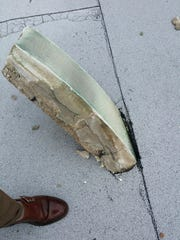 A piece of Mississippi College's clock tower after it was struck by lightning.