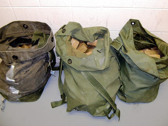 Courtesy Photo   These three duffle bags seized by the U.S. Border Patrol agents contained marijuana with an estimated street value of 89,200.