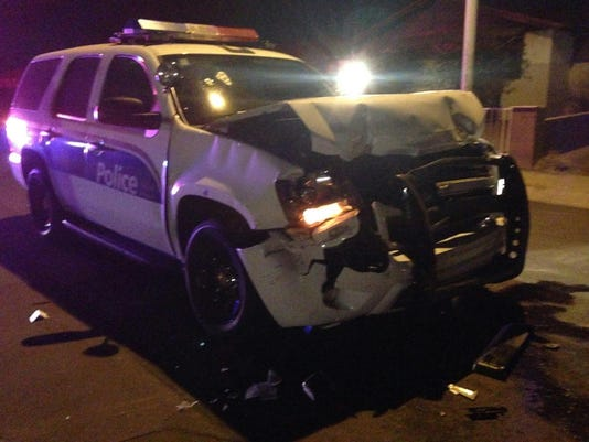 Phoenix Police Truck after being rammed 1/25/15