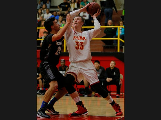 Wyatt Maker (33) and the Palma Chieftains won the city's only CIF NorCal championship in basketball of the decade in 2016.