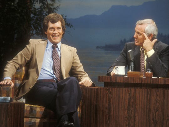 Letterman appears as a guest with Johnny Carson, the host of the 'Tonight Show.' Carson died in 2005.