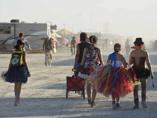 Attendees at Burning Man, in the Black Rock Desert,