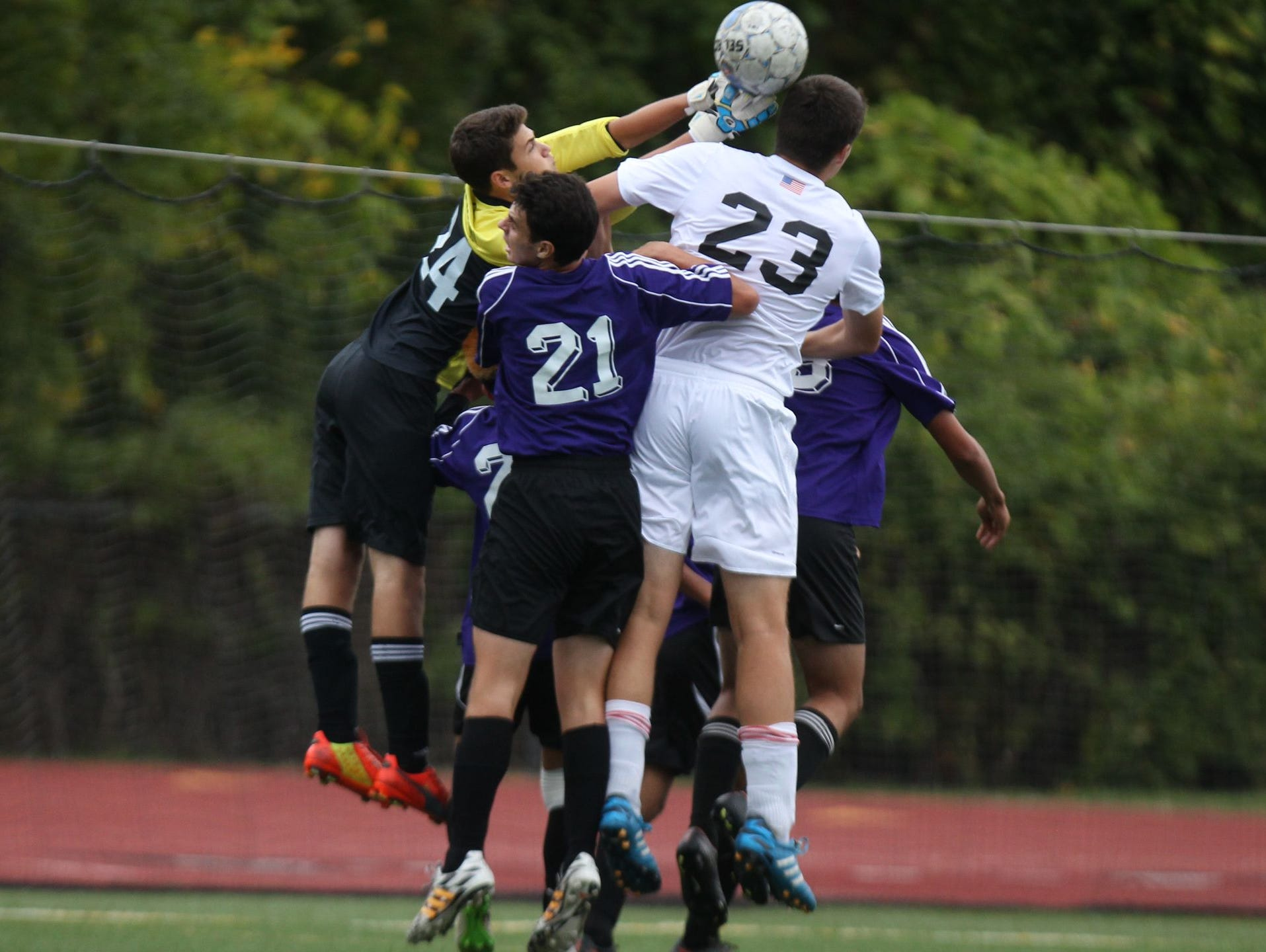 New Rochelle boys soccer won 3-1 at Clarkstown South on Thursday.