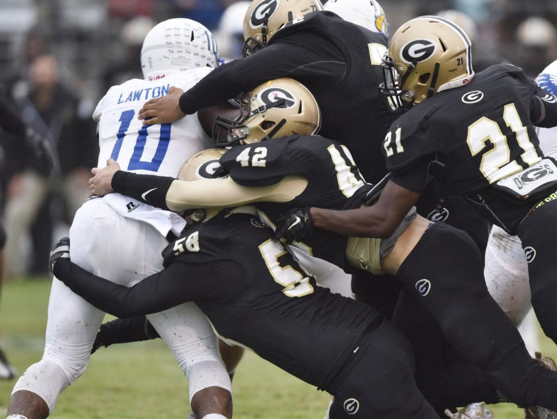 Korey Styles (58), Brodie Wright (42), Jordan Hawthorne (72) and Isaiah Long (21) have helped a Greer defense that has limited opponents to 11.7 points per game.