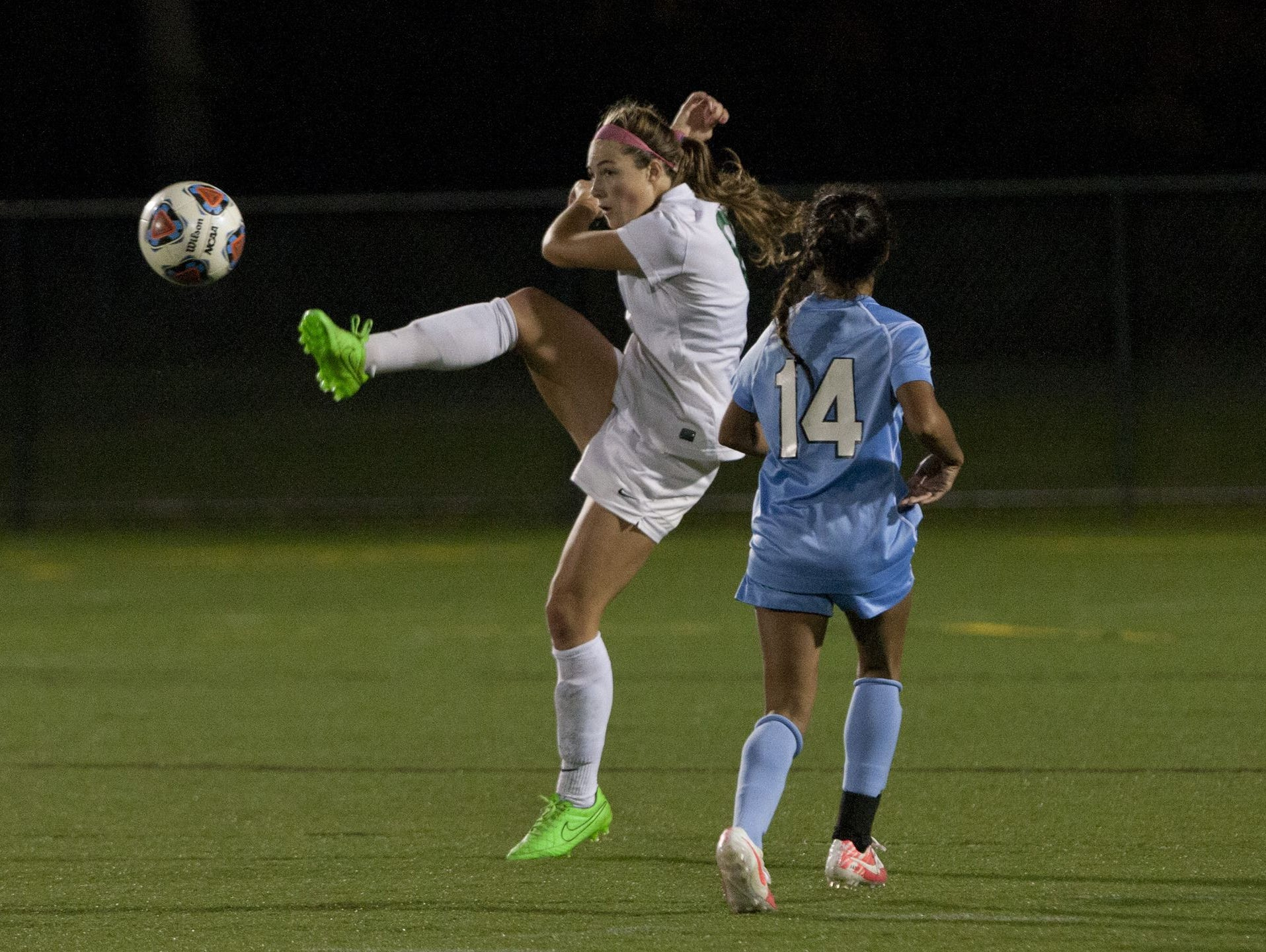 Colts Neck's Amanda Visco kicks the ball during the 2015 SCT final against Freehold Township on Oct. 31, 2015 at the Summerfield Elementary School in Neptune