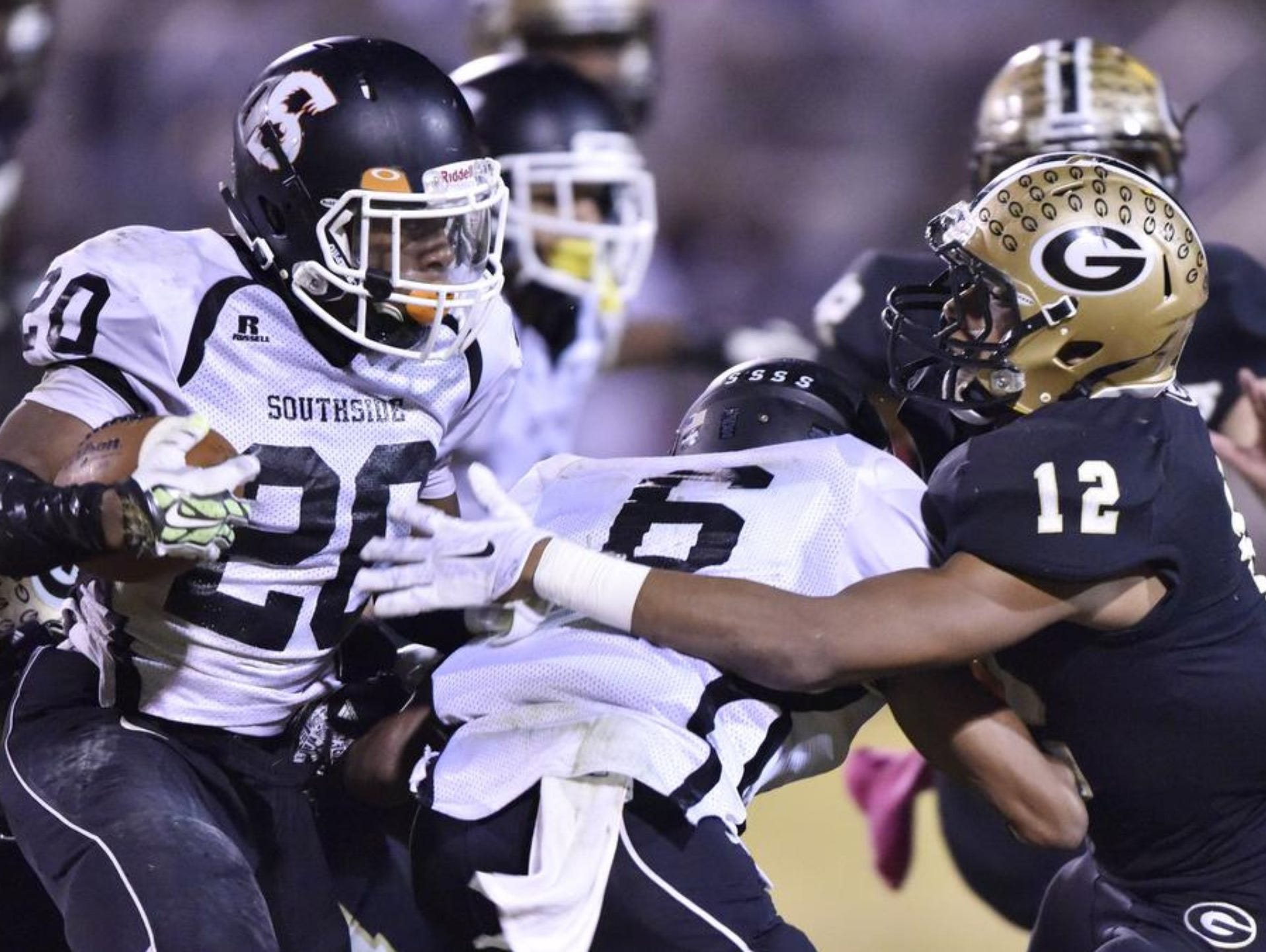 Running back Quavian White (20) and the Southside Tigers will play at Chapin in a Class AAA first-round playoff game Friday night.