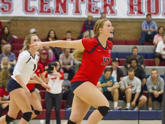 Makenzi Bird-Murphey has helped lead Dixie State from the bottom to the top as the Red Storm clinched its first-ever PacWest title this past weekend. The senior middle blocker also recently became the Red Storm's career leader in block assists (232), passing Morgan Hill (2008-11).