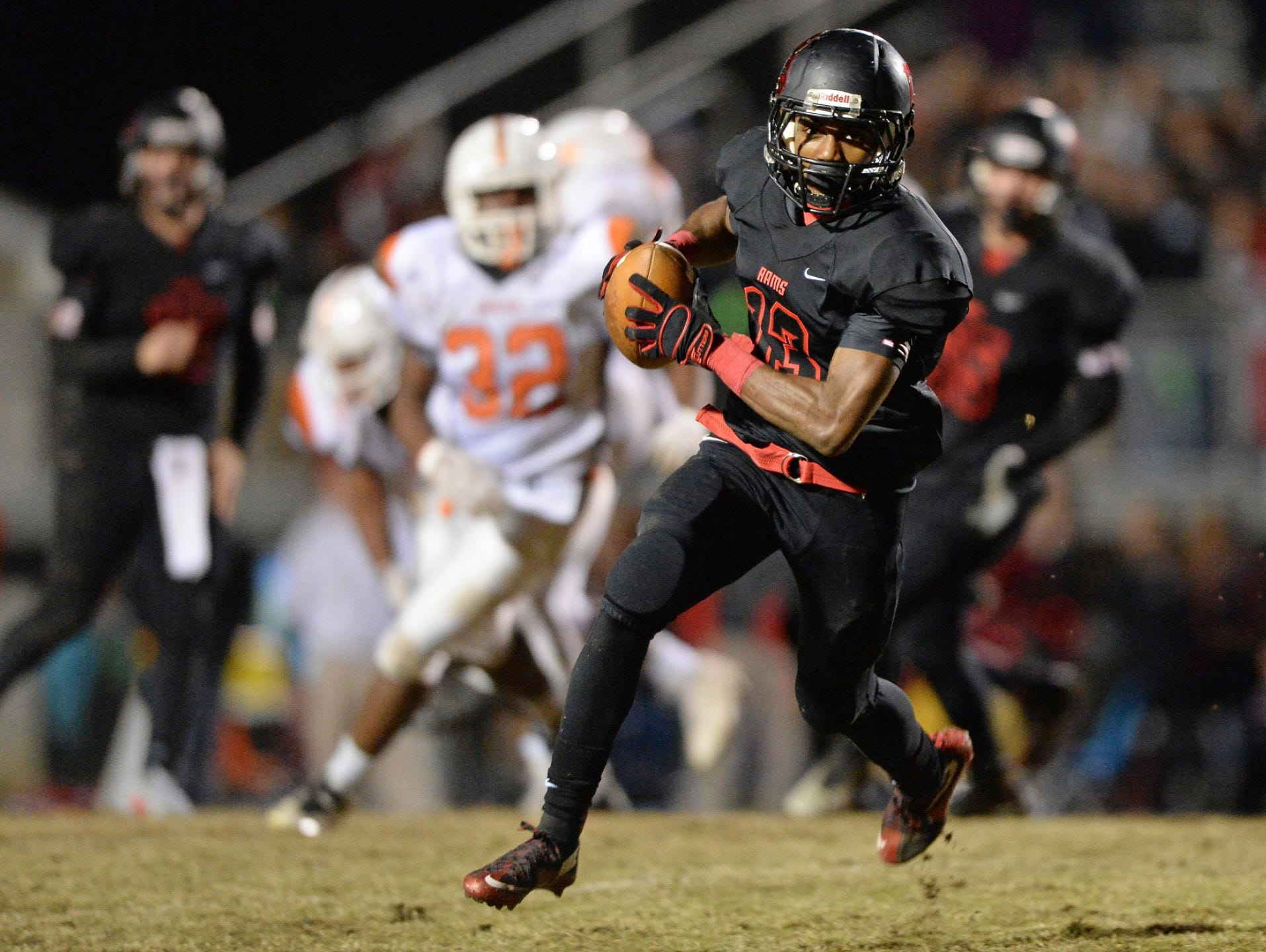 Junior wide receiver Brandon Peppers (13) and the Hillcrest Rams will travel to Goose Creek for a Class AAAA Division I second-round playoff game Friday night.