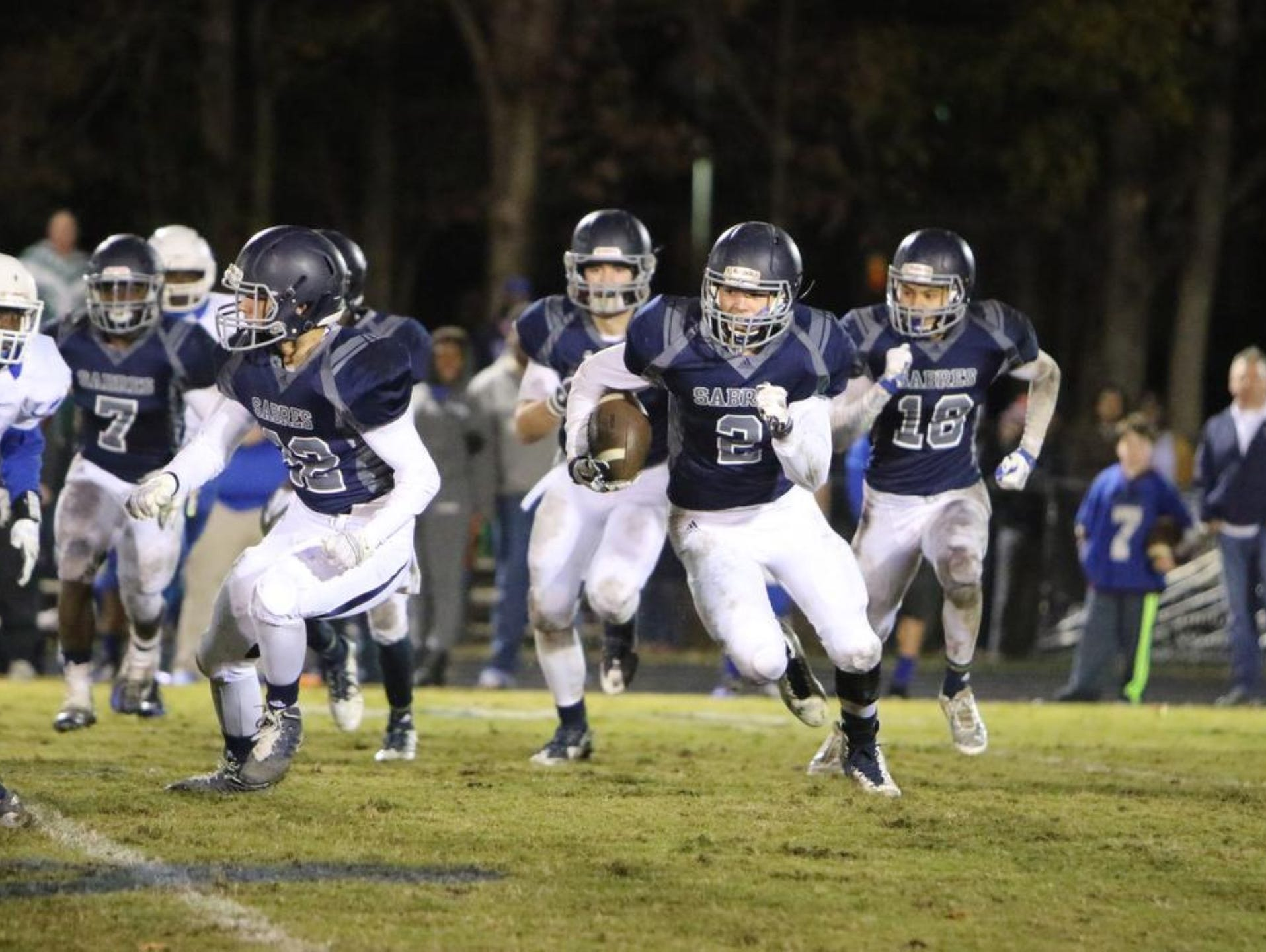 Senior wide receiver Cooper Jackson (2) and the Southside Christian School Sabres have scored 119 points in two playoff games.