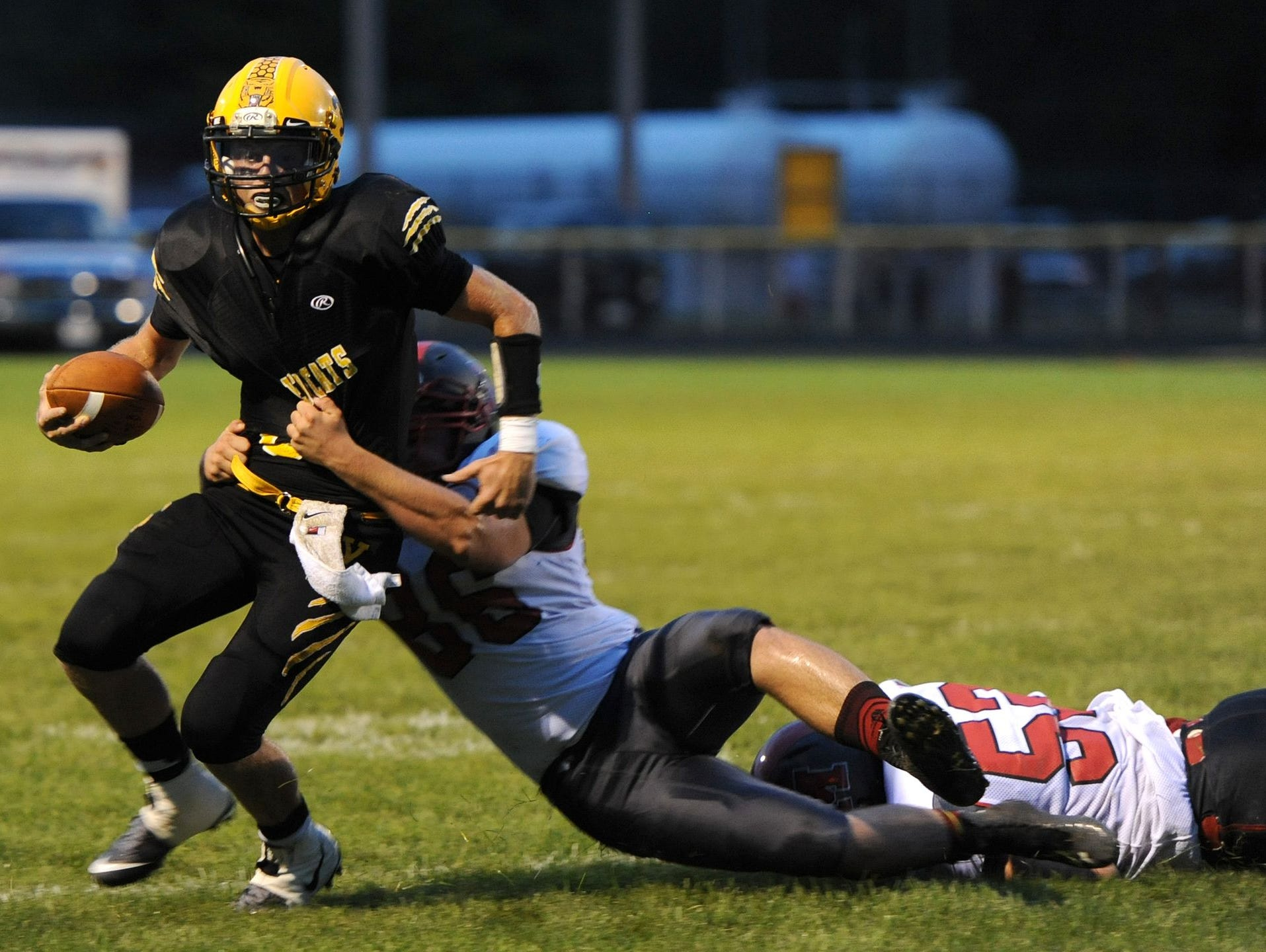 Paint Valley's Anthony McFadden breaks a tackle earlier this season against Minford. McFadden was named the 2015 Gazette Offensive Player of the Year.