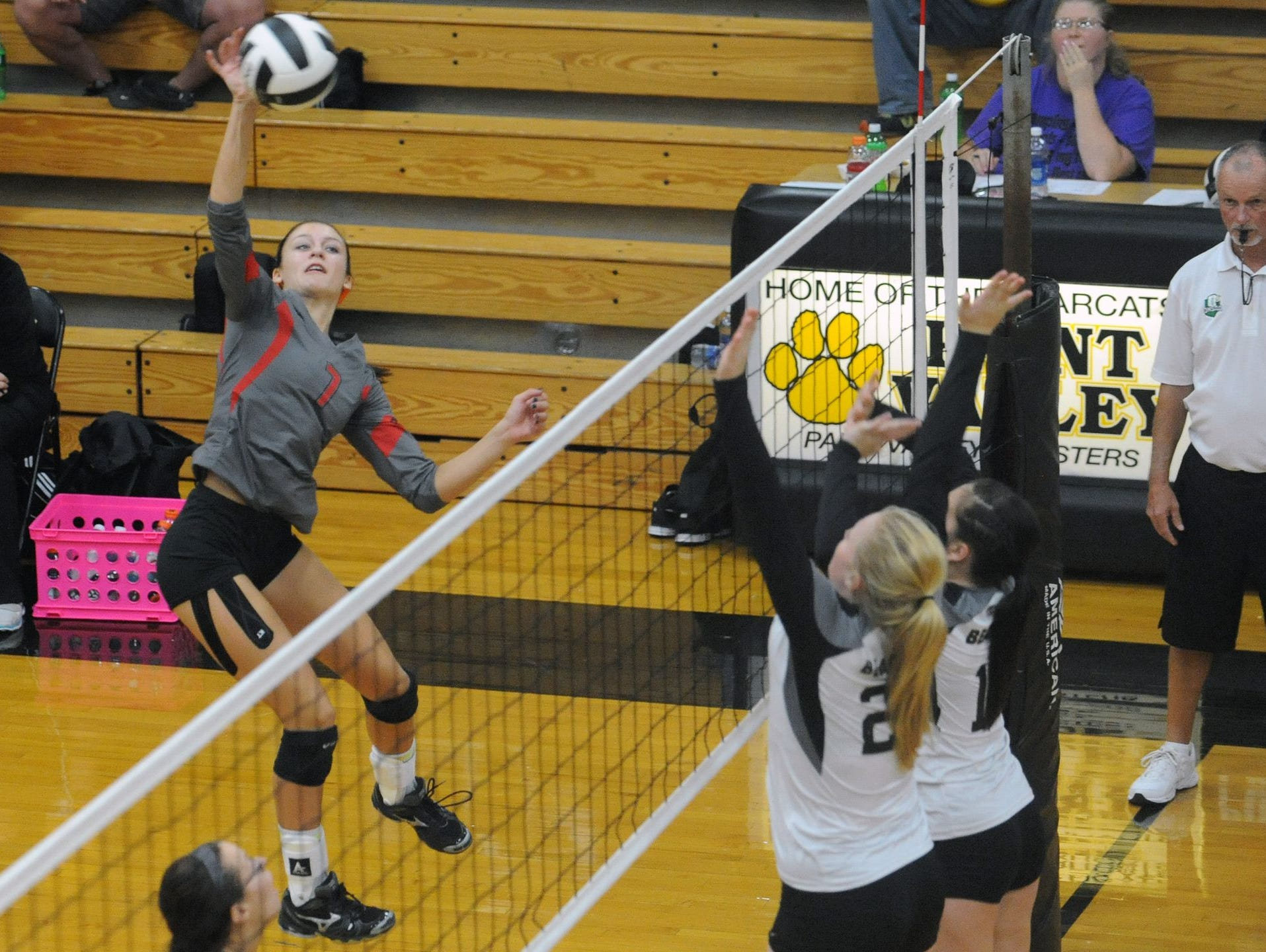 Piketon's Cami Chandler was named spikes a ball against Paint Valley, earlier this year. Chandler was named the 2015 Gazette Volleyball Player of the Year.