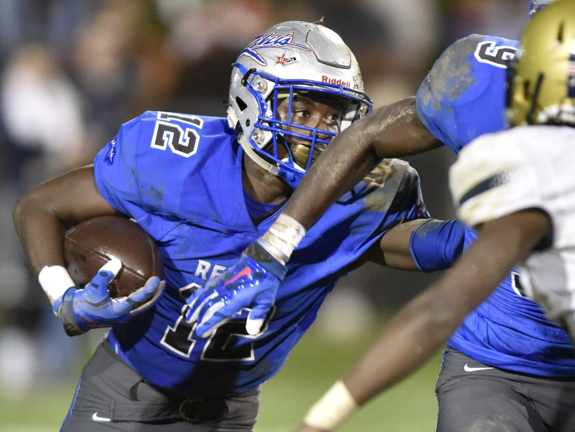 Senior wide receiver-defensive back Jaylan Foster (12) and the Byrnes Rebels will host Dorman in a Class AAAA Division I state semifinal game at Nixon Field Friday night.