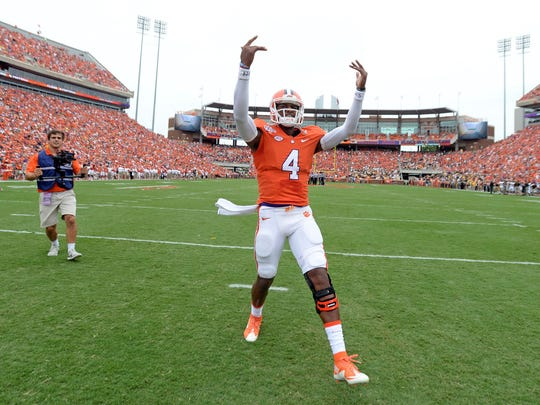 Deshaun Watson plays to the crowd prior to the Tigers' game against Appalachian State on Sept. 12.