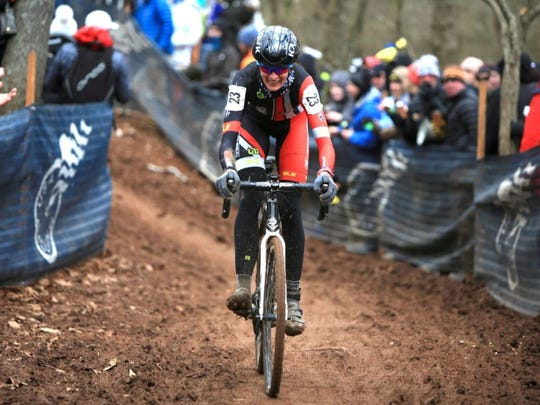 All Stacher, a pro cyclist from Horse Shoe, competes in the USA Cycling Cyclo-Cross National Championships at the Biltmore Estate Jan. 10.