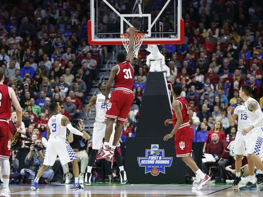 Indiana's Thomas Bryant goes up for a dunk against Kentucky on Saturday, March 19, at Wells Fargo Arena in Des Moines.