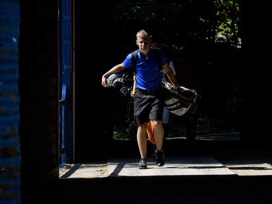 Nick Bailey  of Port Huron, walks to the next hole
