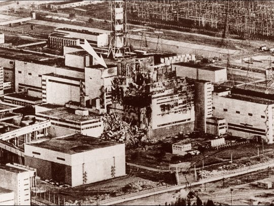 This May 9, 1986, photo shows the stricken reactor No. 2 of the Ukrainian nuclear power plant of Chernobyl after the explosion caused severe damage and radioactive fallout that spread across Europe.