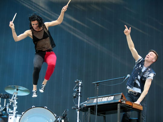 Matt and Kim perform on stage during the 2016 Coachella Valley Music and Arts Festival on Weekend 1 in Indio, California.