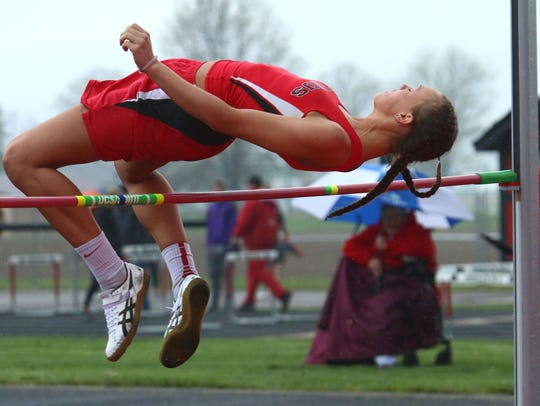Seibert finished tied for second in the high jump