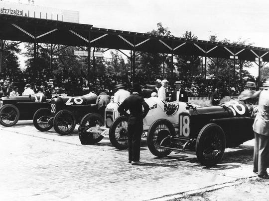 Four competitors (from left,  Dario Resta, No. 17; Gil Anderson, No. 28; Eddie Rickenbacker, No. 5; and Johnny Aitken, No. 18) line up before the 1916 Indianapolis 500. Resta won the race.