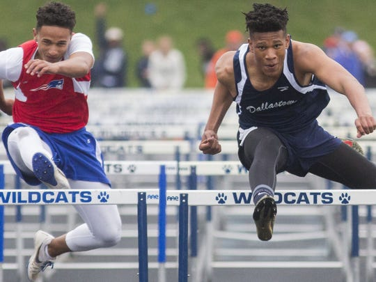 Dallastown's Justin Atwood competes at the YAIAA championships two years ago. He should be one of the league's top hurdlers this season.