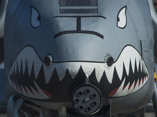The nose of a U.S. Air Force A-10 Thunderbolt II displays a painted set of eyes and teeth over the aircraft's 30mm GAU-8 Avenger rotary cannon during the 74th Expeditionary Fighter Squadron's deployment in support of Operation Atlantic Resolve at Graf Ignatievo, Bulgaria, March 18, 2016. The painting dates back throughout aviation history, where some cultures believed the paint intimidated opponents or warded off evil spirits aimed at disrupting the flight.