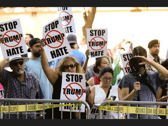 Protesters gathered outside Selland Arena in Fresno before Donald Trump spoke to supporters on Friday, May 27, 2016.