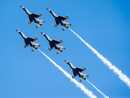 The Thunderbirds fly over 16th Street in Ocean City during the Ocean City Air Show on Saturday, June 18.
