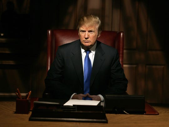 "Donald Trump on the set for his show, ""The Apprentice"""