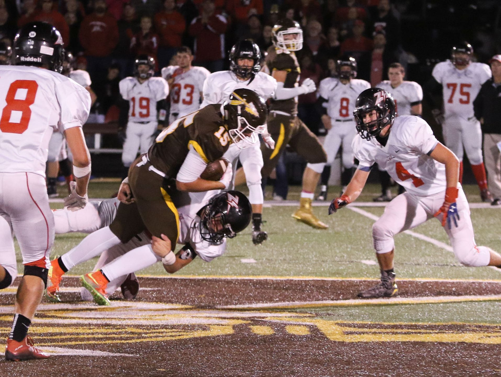 The West Plains Zizzers defense in action during a game at Kickapoo in 2015. The Zizzers play at Glendale on Friday, Sept. 2, 2016.