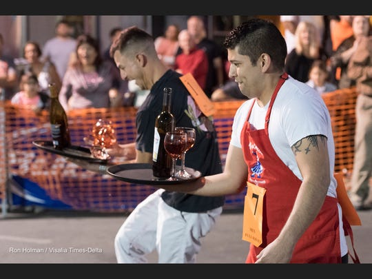 Annual Visalia Waiters Race in Downtown Visalia on Thursday, September 22, 2016.
