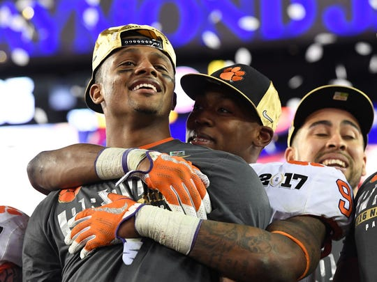 Clemson's Deshaun Watson, Wayne Gallman and Jordan Leggett savor a national title Monday night.