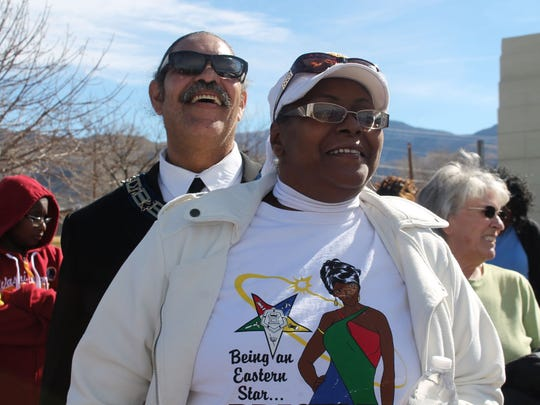 In this 2016 file photo, members of the community smiled as they listened to other members of the community say a few words about Martin Luther King Jr. during his memorial march.